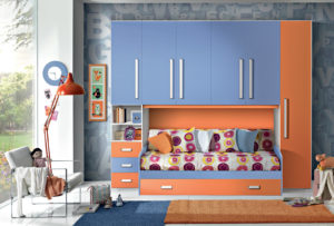 Per la tua bambina ecco una bellissima cameretta a ponte, colorata e moderna dalle tonalità azzurre ed arancioni. Bronze 08: Mondo Camerette
