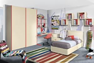 Moderna e senza tempo. È la cameretta pensata per ragazzi dinamici e moderni, tutta da personalizzare dalla zona studio ai colori. Bronze 09: Mondo Cameretta