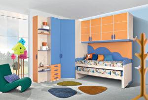 Una cameretta a ponte moderna, colorata e vivace, ideale per il tuo bambino. Un comodo armadio ad angolo ideale per riporre giocattoli, libri e vestiti per una soluzione tutta da personalizzare. Gold 01: Mondo Camerette