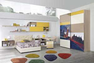 Progetta un'ambiente confortevole e moderno per far studiare i tuoi figli: scopri la cameretta per ragazzi con letto singolo dall'abbinamento cromatico fresco e sorprendente. Gold 04: Mondo Camerette