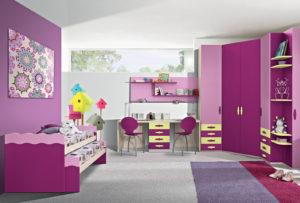 Per le tue bambine scegli la cameretta con cabina armadio dalle tonalità del rosa, con una bellissima zona studio. Gold 10: Mondo Camerette