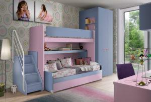 Pensata per due sorelle, scopri questa meravigliosa cameretta a soppalco dalle tonalità del rosa e del blu dalle linee moderne. NS 13 mod: Mondo Camerette