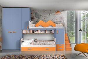 Rendi felici i tuoi bambini con questa cameretta a soppalco dalle ton alità del blu e dell'arancio. Un ambiente tutto da progettare in base alle esigenze dei tuoi figli.NS 14 mod: Mondo Camerette