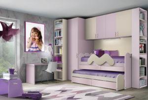 Progetta per la tua bambina una cameretta a ponte dalle linee moderne e dalle tonalità lilla su misura per i suoi desideri. NS 17 mod: Mondo Camerette