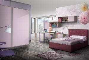 Una meravigliosa cameretta per ragazze con letto singolo tutta da personalizzare. Stile moderno per una proposta d'arredo che preve una bellissima cabina armadio e una luminosa zona studio, colore viola e rosa. NS 2 mod: Mondo Camerette