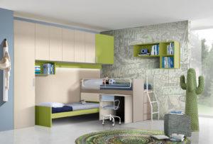 Una cameretta a soppalco dalle tonalità rilassanti e stile moderno. Progetta la soluzione su misura per la tua bambina. Colore beige e verde. NS 20 mod: Mondo Camerette