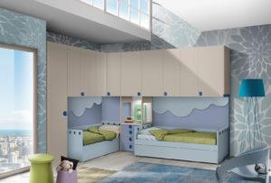 Due letti e un grande armadio a ponte per far crescere insieme i tuoi ragazzi. Scopri questa soluzione sulle tonalità dei beige e dell'azzurro. NS 5 mod: Mondo Camerette