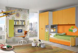Scegli questa soluzione vivace e colorata per la cameretta di tuo figlio. Armadio a ponte e zona studio per un'ambiente tutto da vivere.NS 6mod: Mondo Camerette