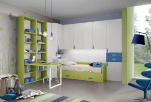 Bianco, verde e azzurro. Sono i colori della cameretta a ponte, con armadio e zona studio tutta da personalizzare in base alle esigenze di tuo figlio. NS 7 mod: Mondo Camerette