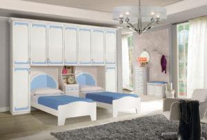 Scegli per i tuoi figli una fantastica cameretta a ponte stile shabby con due letti e cabina armadio spaziosa e accogliente. Nives NIV 602: Mondo Camerette