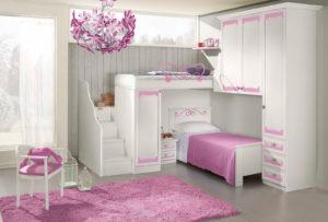 Rendi felice le tue bambine con questa cameretta a soppalco dallo stile shabby. Bianco e rosa per una soluzione salvaspazio. Nives NIV 603: Mondo Camerette