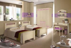 Scegli per le tue figlie una cameretta con letti singoli stile classico, colore bianco da personalizzare in base alle loro esigenze. Nives NIV 605: Mondo Camerette