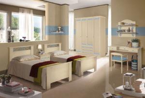 Fai crescere insieme i tuoi figli in questa una cameretta con letti singoli dallo stile classico e colori tenui. Nives NIV 606: Mondo Camerette