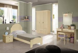 Stile classico per una cameretta sempre attuale. Vieni a progettare per tua figlia una cameretta accogliente e confortevole con un comodo letto singolo, colore beige. Nives NIV 602: Mondo Camerette
