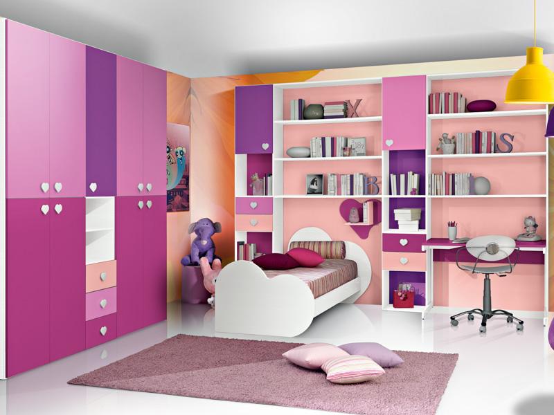Cameretta Lilla E Viola : Cameretta per bambine letto singolo zona studio colore rosa e