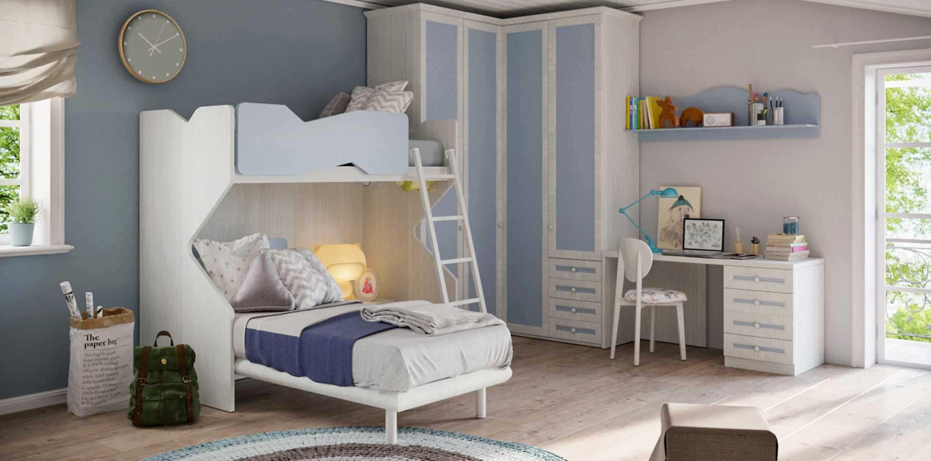 Cameretta per bambini con letto a soppalco colore bianco - Letto soppalco per bambini ...