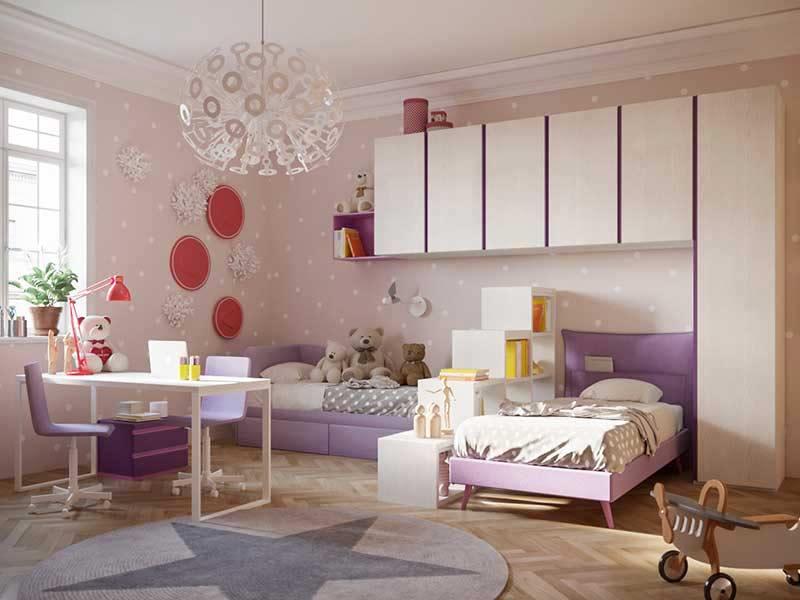 Cameretta Lilla E Arancione : Cameretta per bambine a ponte colore bianco e lilla gold 3d