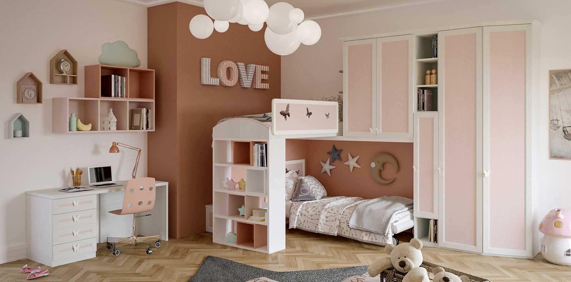 Camerette A Soppalco Rosa.Cameretta Per Bambine Con Soppalco Colore Bianco E Rosa Class