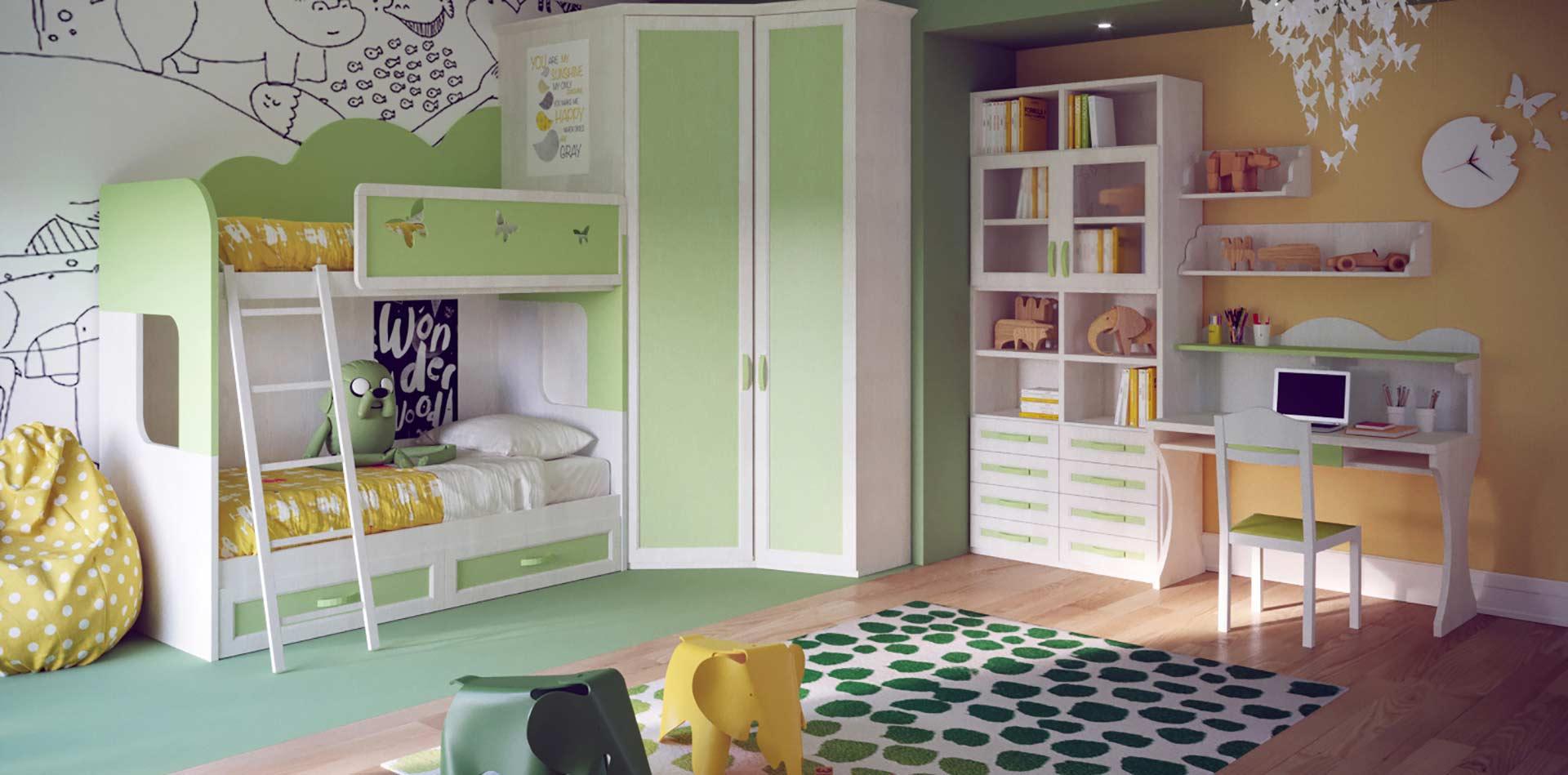 Cameretta per bambini con cabina armadio colore bianco e verde class 06 mondo camerette - Cabina armadio per cameretta ...